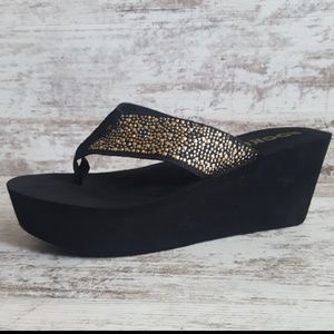 Rocket Dog Metallic Bling Platform Wedge